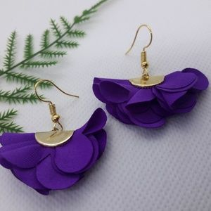 Purple Silk Flower Earrings